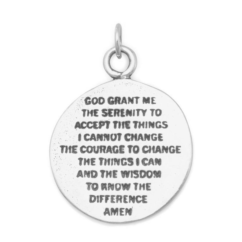 Praying Hands and Serenity Prayer Sterling Silver Reversible Charm - deelytes-com