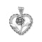 Heart with Rose Sterling Silver Charm - deelytes-com
