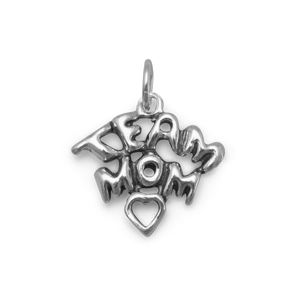 Team Mom Sterling Silver Charm - deelytes-com