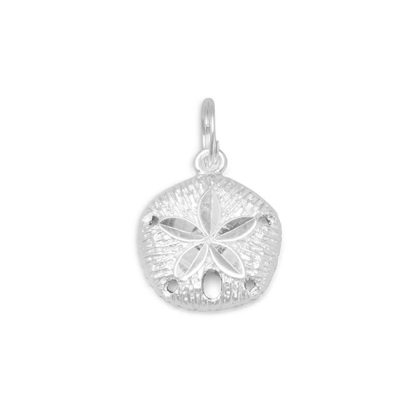 Diamond Cut Sand Dollar Charm Sterling Silver - deelytes-com