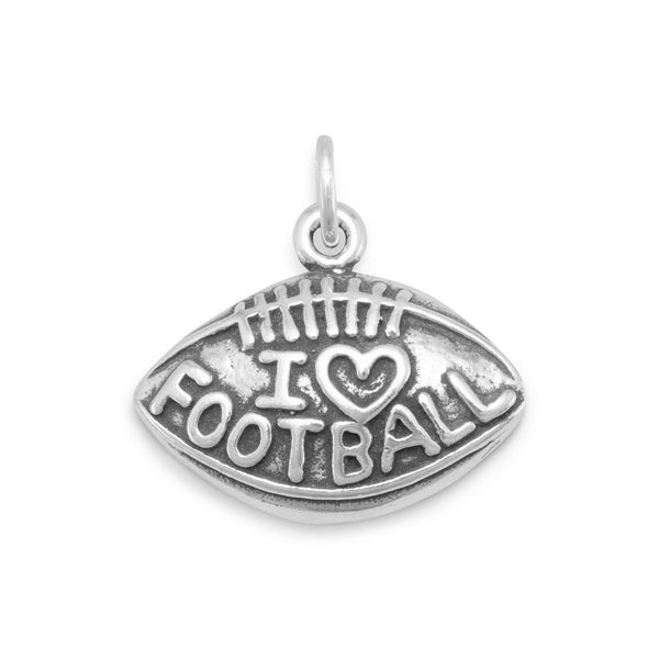 """I Love Football"" Sterling Silver Charm - deelytes-com"