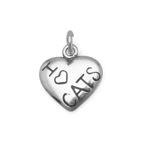 I Love CATS Sterling Silver Charm - deelytes-com