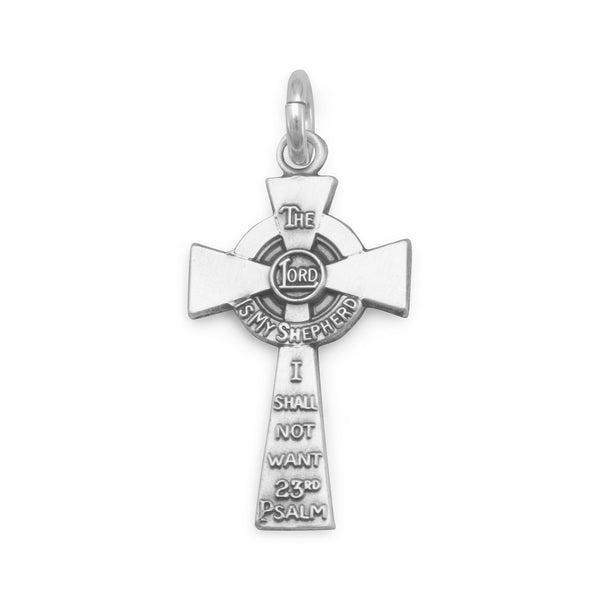 23rd Psalm Cross Charm Sterling Silver - deelytes-com