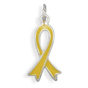 """Support Our Troops"" Yellow Awareness Ribbon Sterling Silver Charm - deelytes-com"