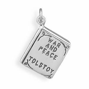 War and Peace Sterling Silver Book Charm - deelytes-com