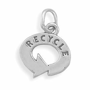 Recycle Symbol Sterling Silver Charm - deelytes-com