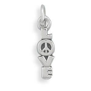 LOVE with Peace Sign Sterling Silver Charm - deelytes-com