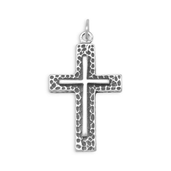 Sterling Silver Textured Cross Pendant - deelytes-com