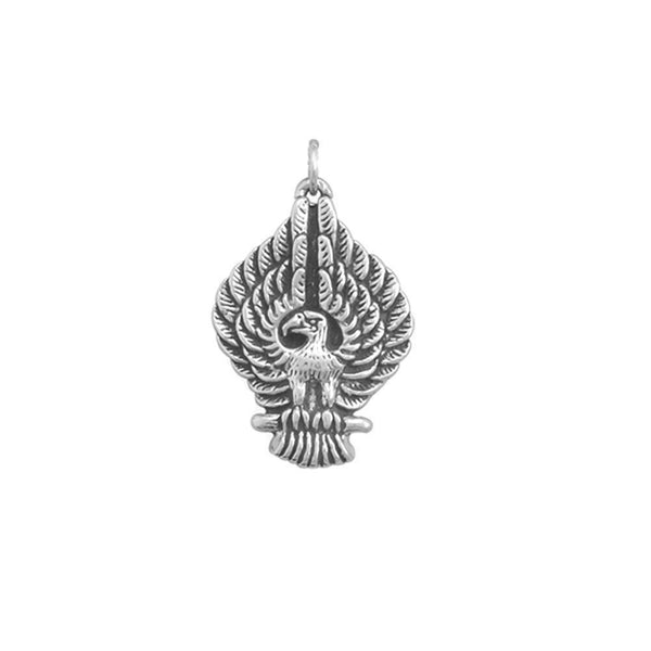 Sterling Silver Raised Wings Oxidized Eagle Pendant - deelytes-com