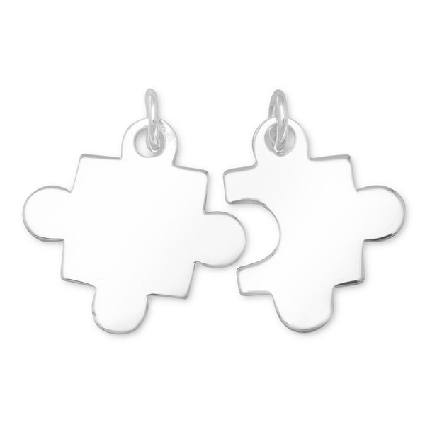 """Autism"" Awareness Set of 2 Puzzle Pieces Sterling Silver Charms - deelytes-com"