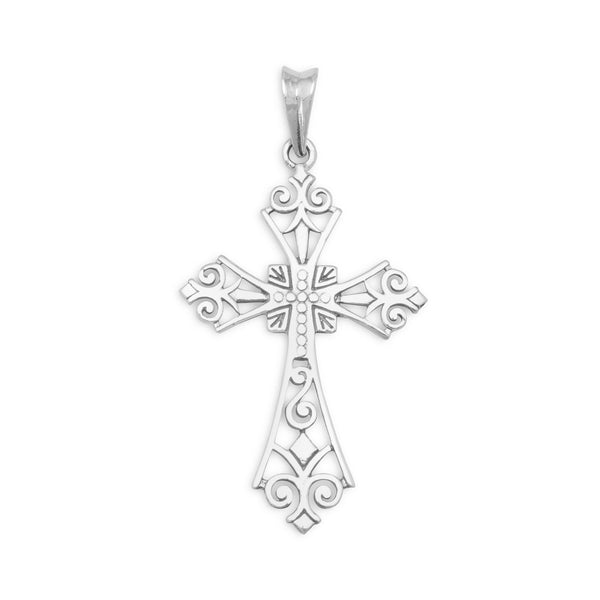 Ornate Sterling Silver Cross Pendant - deelytes-com
