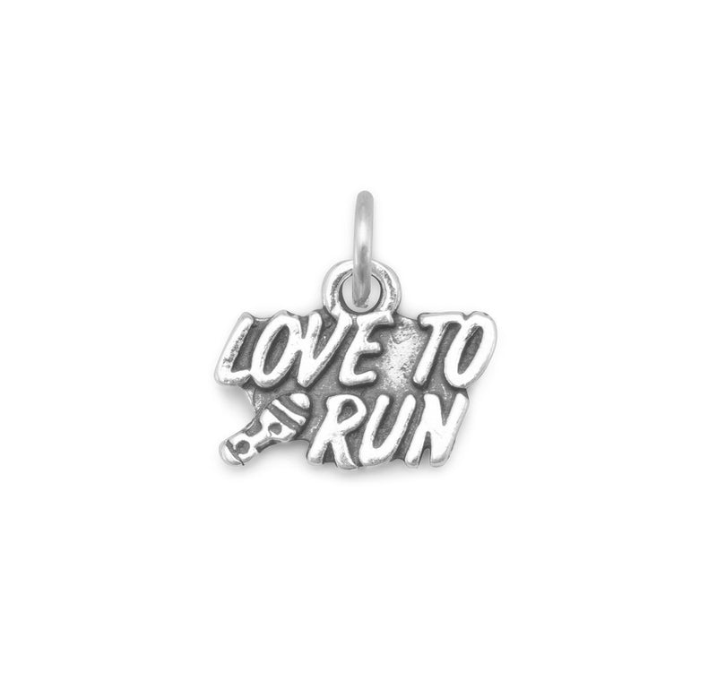 """Love to Run"" Sterling Silver Charm - deelytes-com"