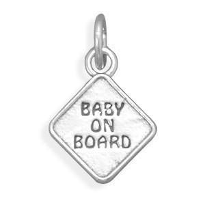 """Baby on Board"" Sterling Silver Charm - deelytes-com"