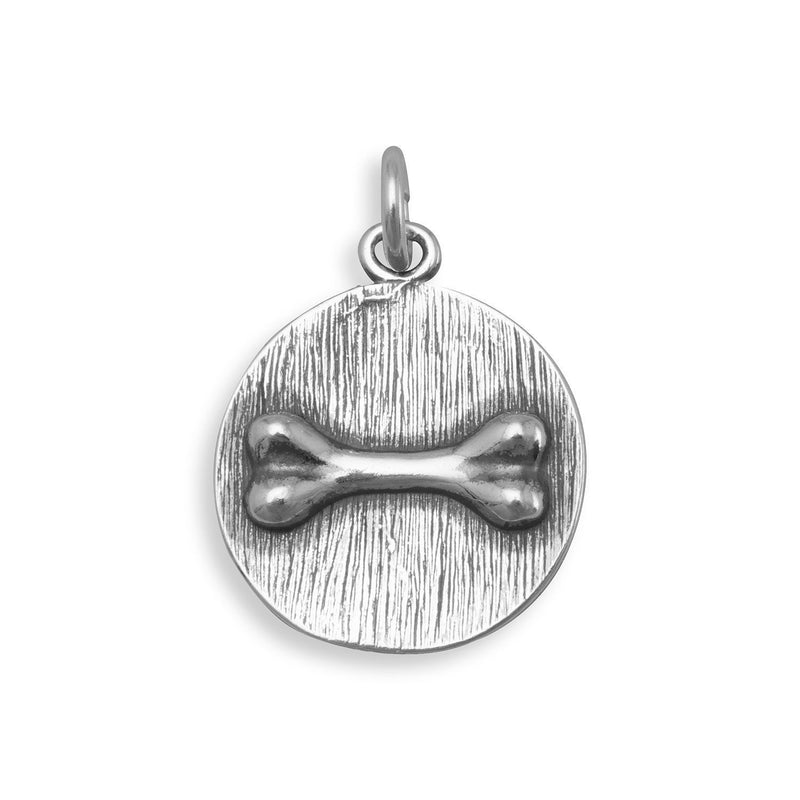 Dog Bone Sterling Silver Disc Charm - deelytes-com