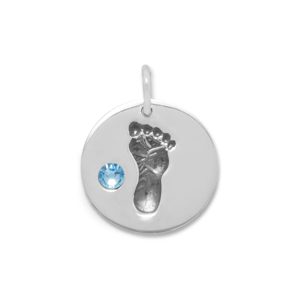 Footprint Charm Sterling Silver with Blue Crystal - deelytes-com