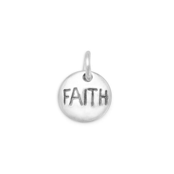 """Faith"" Sterling Silver Charm - deelytes-com"