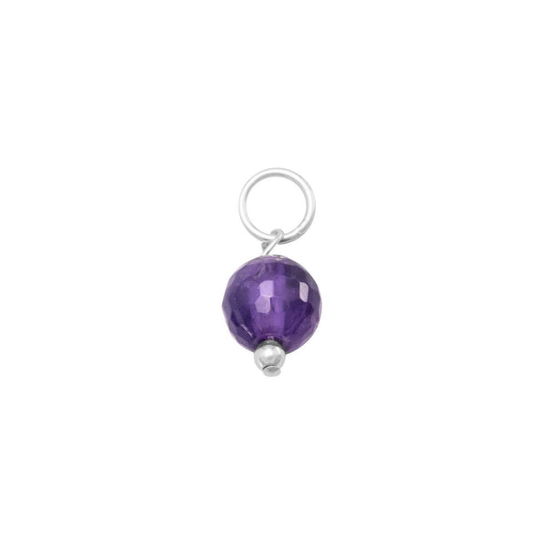 Faceted Amethyst Bead Charm - February Birthstone Sterling Silver - deelytes-com