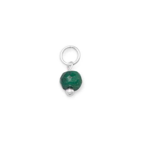 Green Corundum Charm - May Birthstone Sterling Silver - deelytes-com