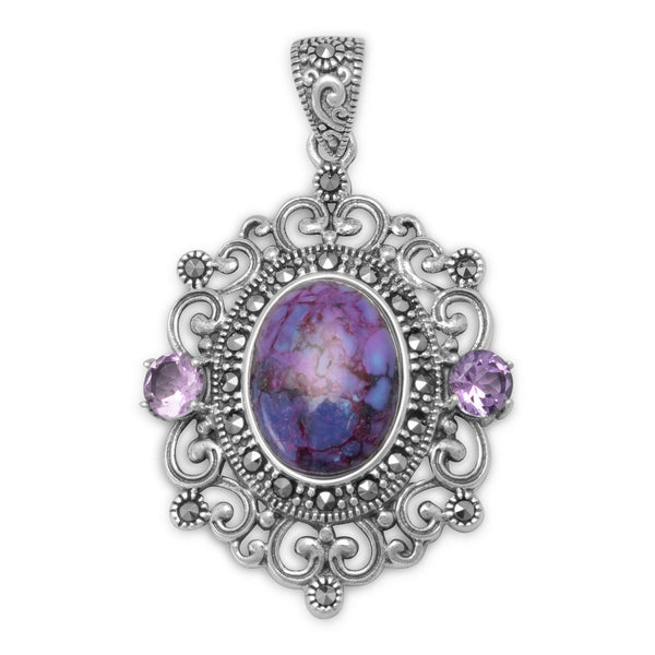 Ornate Marcasite and Purple Turquoise Sterling Silver Pendant - deelytes-com