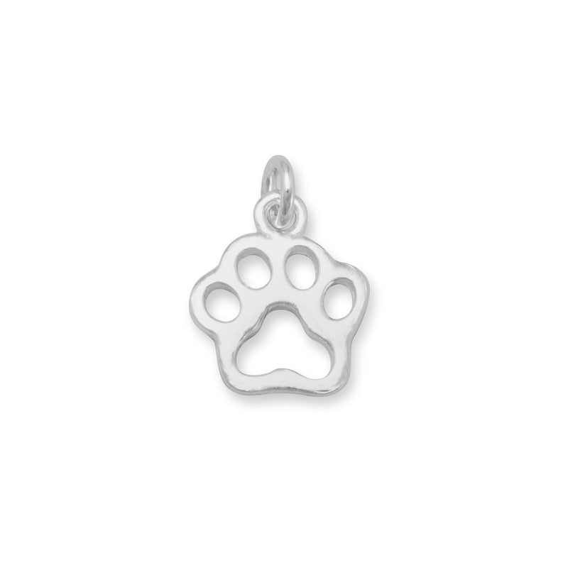 Small Cut Out Paw Print Sterling Silver Charm - deelytes-com