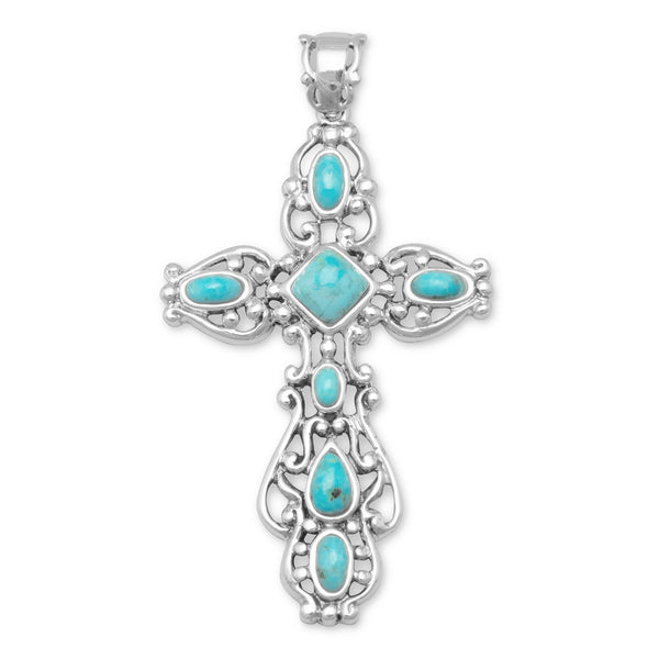 Ornate Sterling Silver Turquoise Cross Pendant - deelytes-com