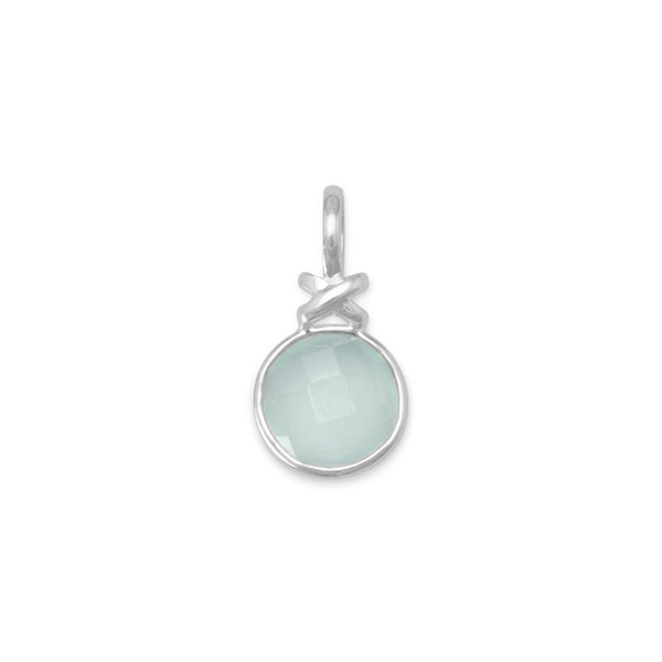 "Faceted Sea Green Chalcedony Pendant with ""X"" Design - deelytes-com"