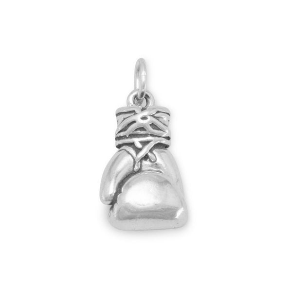 Large Sterling Silver Oxidized Boxing Glove Charm - deelytes-com