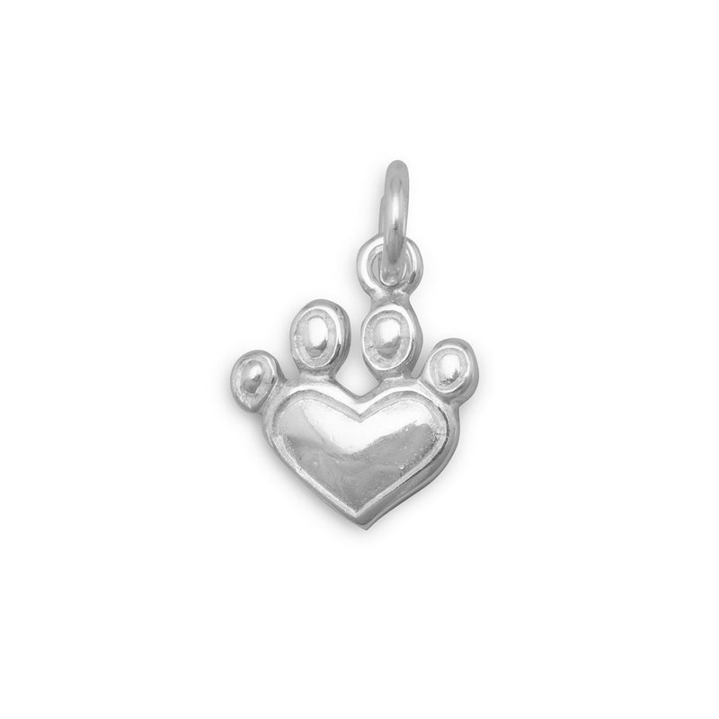 Heart Paw Print Sterling Silver Charm - deelytes-com
