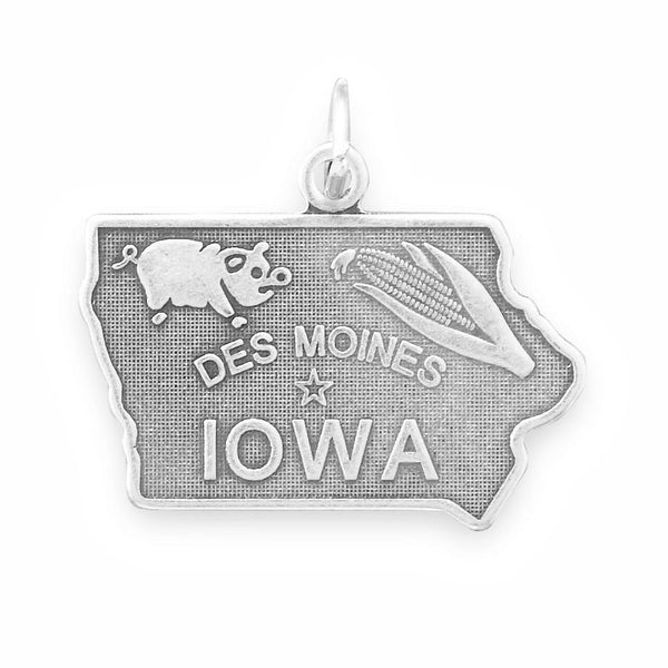 Iowa State Sterling Silver Charm - deelytes-com