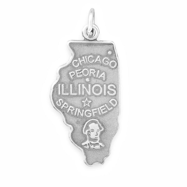 Illinois State Sterling Silver Charm - deelytes-com