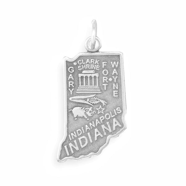 Indiana State Sterling Silver Charm - deelytes-com