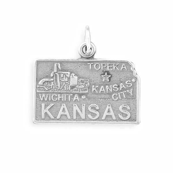 Kansas State Sterling Silver Charm - deelytes-com