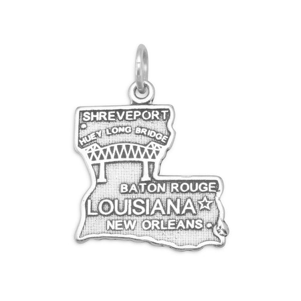 Louisiana State Sterling Silver Charm - deelytes-com
