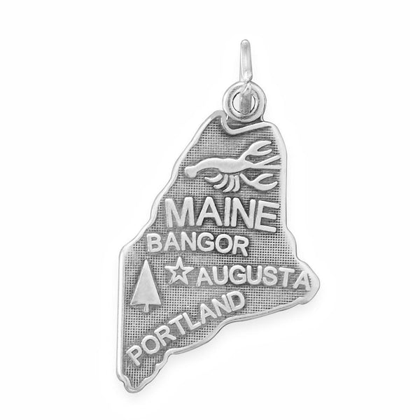 Maine State Sterling Silver Charm - deelytes-com