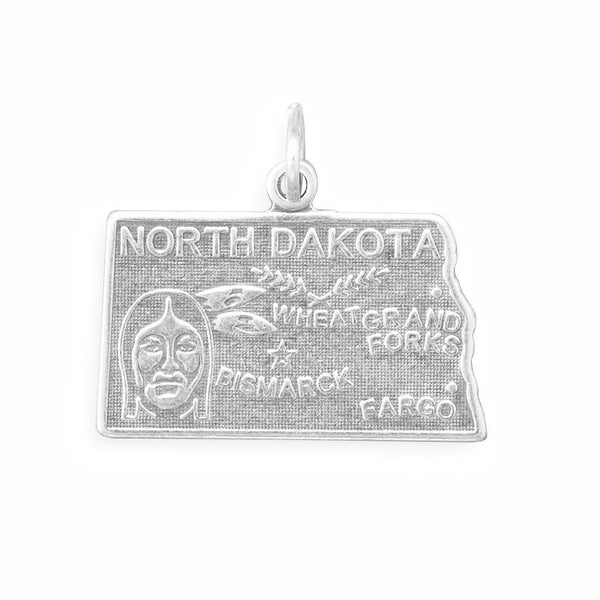 North Dakota State Sterling Silver Charm - deelytes-com