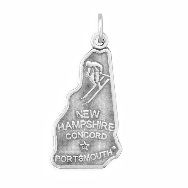 New Hampshire State Sterling Silver Charm - deelytes-com