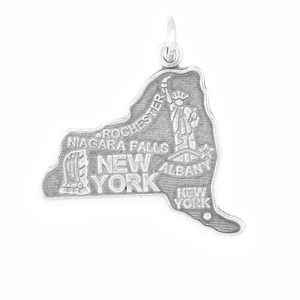 New York State Sterling Silver Charm - deelytes-com