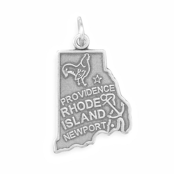 Rhode Island State Sterling Silver Charm - deelytes-com