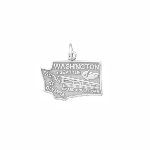 Washington State Sterling Silver Charm - deelytes-com