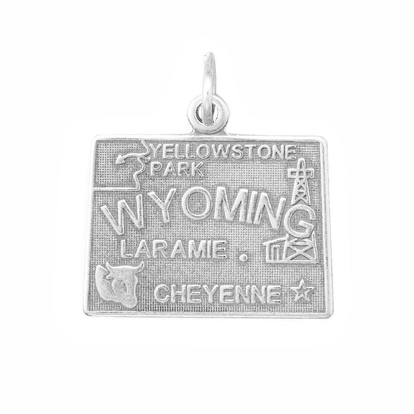 Wyoming State Sterling Silver Charm - deelytes-com