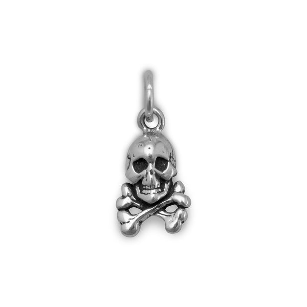 Skull and Crossbones Sterling Silver Charm - deelytes-com