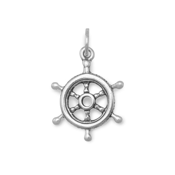 Ship's Helm Sterling Silver Charm - deelytes-com