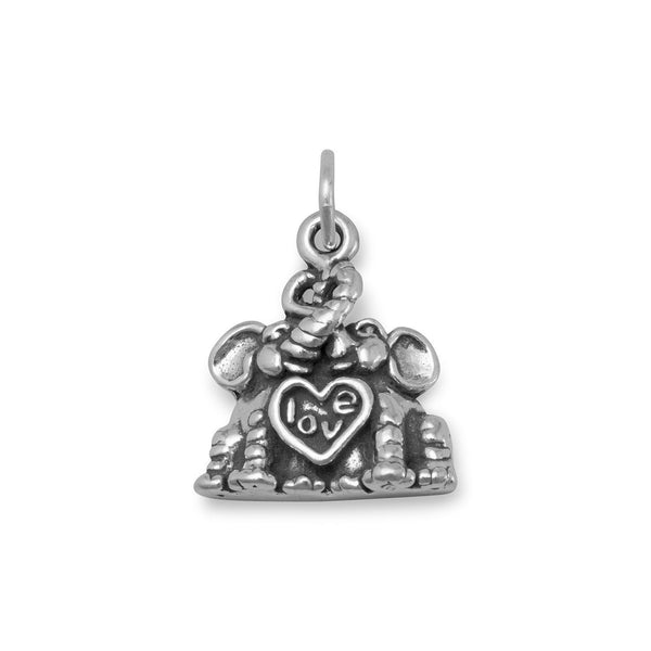 Elephants in Love Charm Sterling Silver - deelytes-com