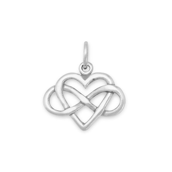 Infinity Heart Sterling Silver Charm - deelytes-com