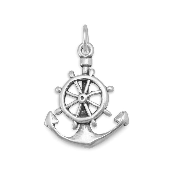 Mariners Anchor Cross Sterling Silver Charm - deelytes-com
