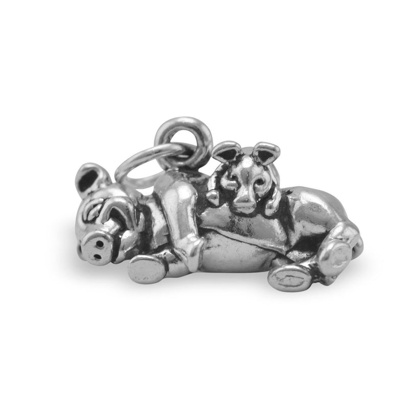 Adorable Pig with Piglet Sterling Silver Charm - deelytes-com