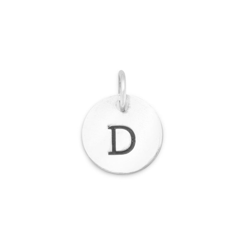 "Oxidized Initial ""D"" Charm 925 Sterling Silver - deelytes-com"
