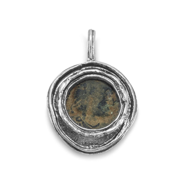 Ancient Roman Artifact Coin Sterling Silver Pendant - deelytes-com