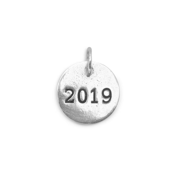 "Oxidized ""2019"" Circle Charm 925 Sterling Silver - deelytes-com"