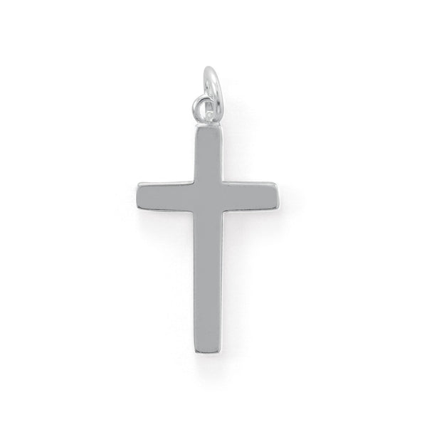Polished Cross Charm Sterling Silver - deelytes-com
